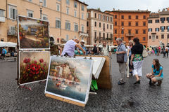 Painter Navona Square Royalty Free Stock Images