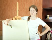 Painter near easel Royalty Free Stock Photography