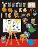 Painter Objects Cartoon Style 2. Colorful clip art collection with palettes, paintbrushes, paint cans, canvas, easels, pots, ink blots, hand-prints Vector Illustration