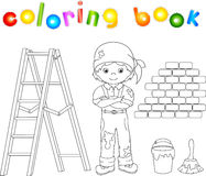 Painter in overalls and bandana. Ladder, paint brush and bucket Stock Images