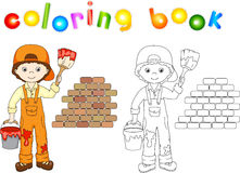 Painter in overalls and cap visor backwards. Brick wall, paint b Stock Images