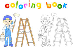 Painter in overalls and cap visor backwards. Ladder, paint brush Stock Image
