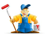 Painter with and paint Royalty Free Stock Photo