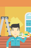 Painter with paint brush. Royalty Free Stock Photos
