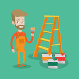 Painter with paint brush vector illustration. Stock Photos