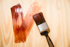 Painter. Paint brush for wood painting Stock Images