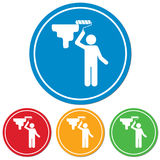 Painter with paint roller icon Stock Photography