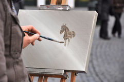 Painter. Paint on the street Royalty Free Stock Images