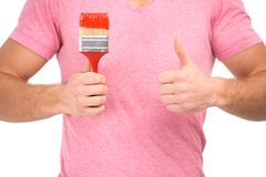 Painter with paintbrush Royalty Free Stock Images