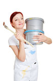 Painter with paintbrush and paint Royalty Free Stock Photography