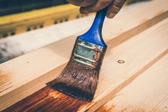 Painter with paintbrush painting wooden surface stock photography