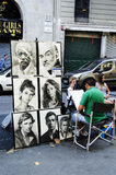 Painter, painting portraits in Las Ramblas de Catalunya, Barcelona's Stock Photo