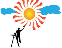 Painter painting sun and clouds Royalty Free Stock Image