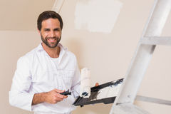 Painter Painting The Walls White Stock Images
