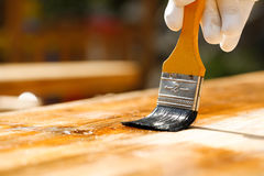 Painter painting wooden surface, protecting wood Stock Image