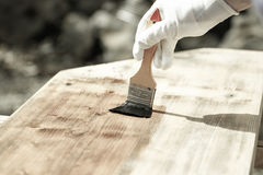 Painter painting wooden surface, protecting wood Royalty Free Stock Image
