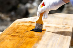 Painter painting wooden surface, protecting wood Stock Photos