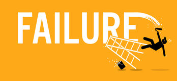 Painter painting the word failure on a wall by climbing up on a ladder but fell down miserably. Stock Photography