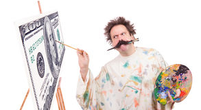Painter paints banknotes Royalty Free Stock Photo