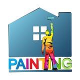 Painter paints house vector illustration Stock Photos