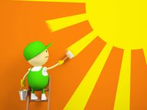 Painter paints the sun on the wall Royalty Free Stock Photo