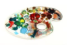 Painter palette. Of plastic with various colors Royalty Free Stock Image