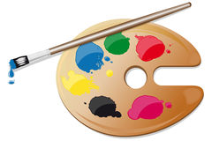 Painter palette with colors and brush Stock Photos