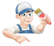 Painter pointing at banner Royalty Free Stock Image