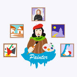 Painter. Profession. Icons. Picture. The artist holds the brush and palette royalty free illustration