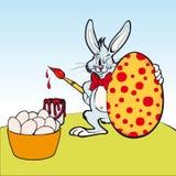 Painter Rabbit illustration for Easter Stock Image