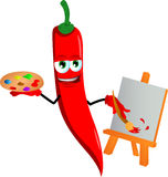 Painter red hot chili pepper Royalty Free Stock Images