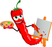Painter red hot chili pepper Stock Image