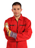 Painter in red overall. Young painter in red overall. All on white background Royalty Free Stock Photos