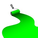 Painter roller dyes  the paint of green color Royalty Free Stock Image