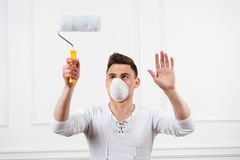 Painter with roller Royalty Free Stock Photo