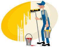Painter with roller. Vector illustration of a painter with roller Royalty Free Stock Photos
