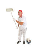 Painter rolling the wall Stock Photos