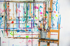 Painter's atelier. With brushe's in Royalty Free Stock Image