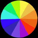 Painter's color wheel - painted in Stock Photography