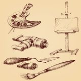 Painter`s and painting set. Brushes, painter`s palette, color tubes, easel and painting knife vector illustration