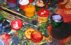 Painter's paints 2. Tools and painter's paints stock photos