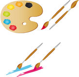 Painter's palette with brushes. Vectors illustration shows the painter's palette with brushes stock illustration
