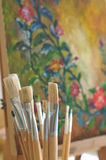 Painters tools set of different art brushes. Stock Images
