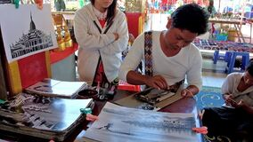 The painter`s workshop, Inle Lake, Myanmar stock video