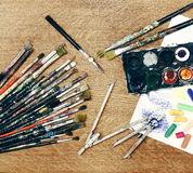 Painter's workspace close up Royalty Free Stock Images