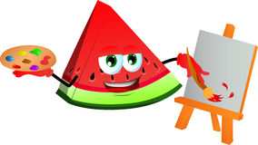 Painter slice of watermelon Royalty Free Stock Photography