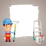 Painter With Text Box Royalty Free Stock Photos