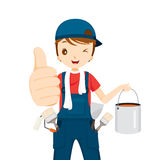 Painter Thumbs-Up With Color Bucket And Tools, People Occupation Royalty Free Stock Photo