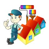 Painter with tools and at home. Painter with a roller and brush for painting houses vector illustration