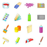 Painter tools icons set, cartoon style Royalty Free Stock Photo